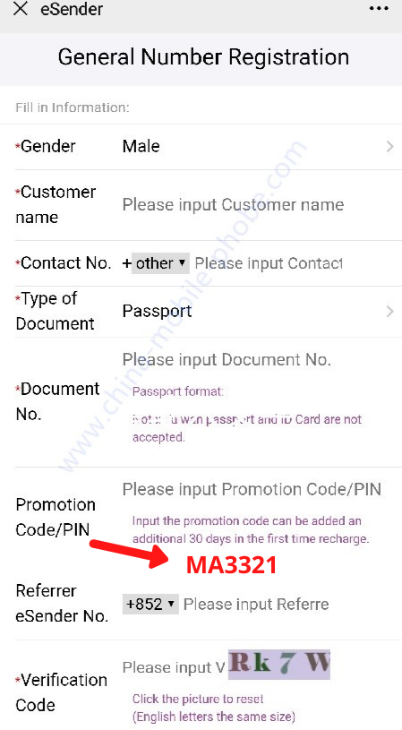 Application form of receiving China sms online