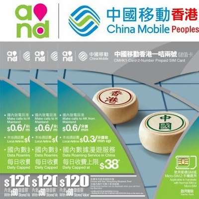 Recharge China Hong Kong 2 in 1 SIM Card