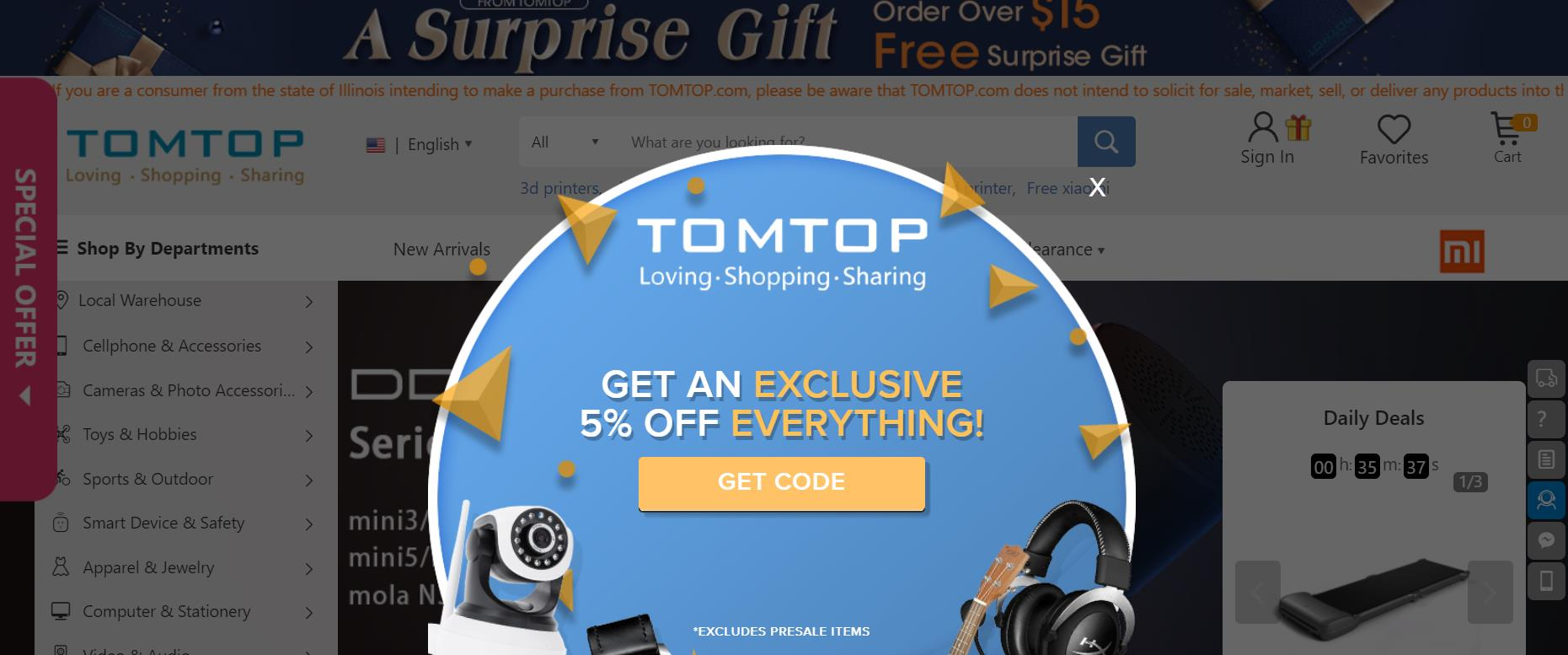 coupons tomtop com