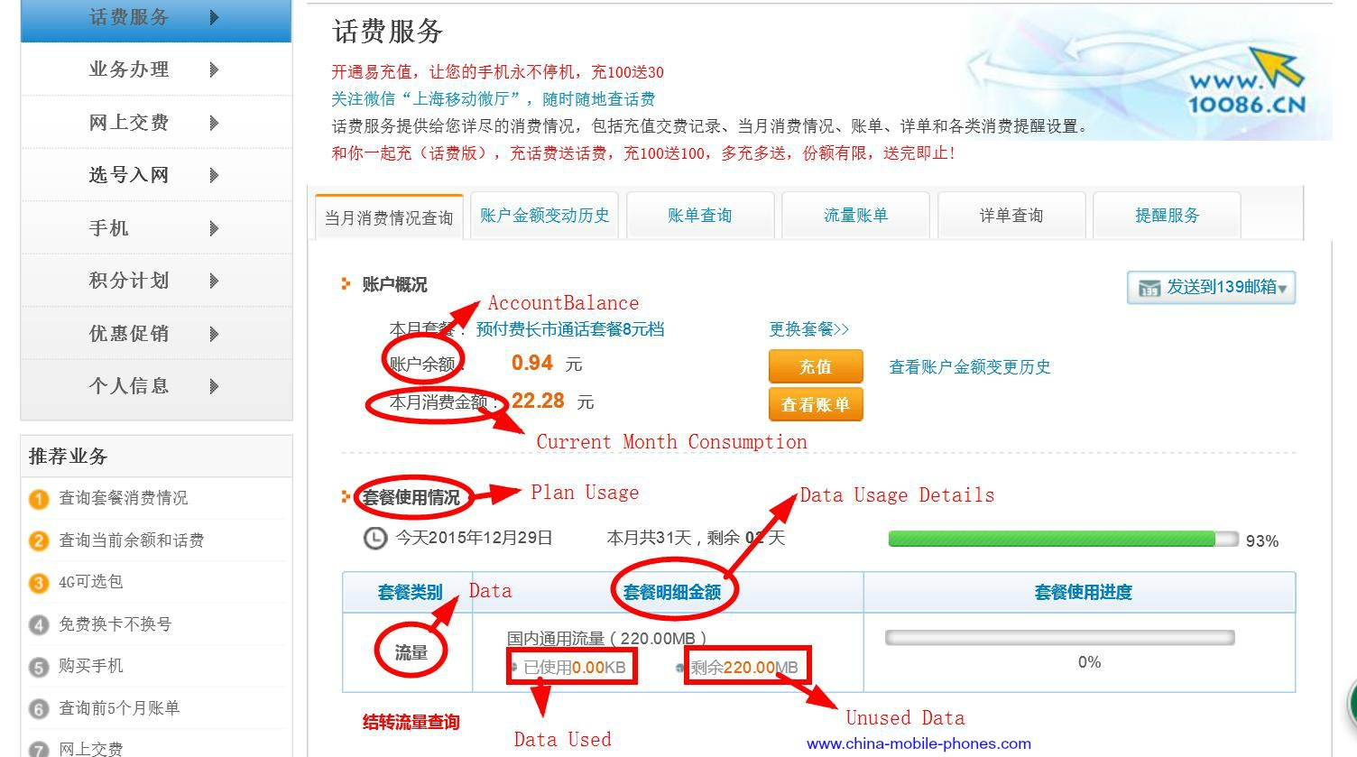 China Mobile Data and Call Usage Details